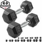 Rubber Coated Hex Dumbbell Hand Weights, 5 to 50 lb Pairs - Strength Training