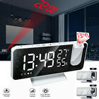 LED Digital Alarm Clock Radio Projection With Weather Station Temperature USB US