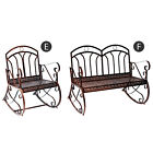Garden Antique Rocking Chair Metal Bench One Double Seater 2-seat Armrest