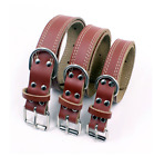 Leather Dog Collar Real Genuine Brown Leather Dog Collar Small Medium Large
