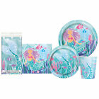 Mermaid Purple and Aqua Disposable Plates Napkins Tablecloth Party