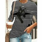 Womens Casual Stripe Print Blouse Ladies Long Sleeve Crew Neck Tops T-Shirt Tee