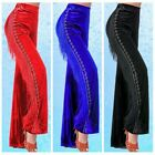 Lady Pleuche Tassel Rhinestone Pants Trousers Latin Ballroom Jitterbug Dance Red