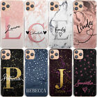 Personalised Phone Case For Samsung A20e/a21s, Initial Black Marble Hard Cover