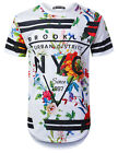 Mens Hipster Hip Hop New York Floral White Graphic Longline T-Shirt