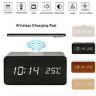 Best Wooden Wood Digital LED Desk Alarm Clock Thermometer Qi Wireless Charger