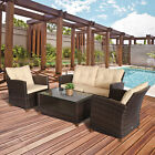 4 PCS Garden Patio Furniture Wicker Chair Set Coffee Table w/ Cushions