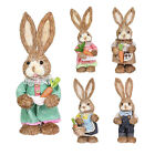 32cm Straw Rabbit With Pick Home Decoration Easter Bunny Statue Ornament Au