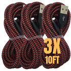 6X USB Fast Charger Cable 10Ft Braided Data Charging Cord For iPhone 12 11 8 7 X