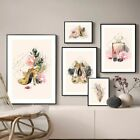 6pcs+Pink+Flower+Perfume+Plants+Canvas+Painting+Poster+Wall+Arts+Bedroom+Decors