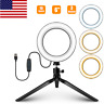 """6"""" LED Circle Light with Stand For Live Stream Makeup Dimmable Camera Lamp K8H1"""
