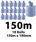 18 BIG EXTRA LONG 150mX190mm Heavy Duty Blue Paper Towel Centrefeed Roll PREMIUM