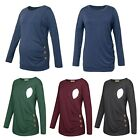 Pregnant Women Tops Solid Color Shirts Long Sleeves Round Neck Nursing T-shirts