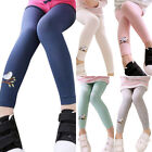 Kids Girls Stretch Leggings Trousers Full Crop Bird Embroidery Casual Bottoms