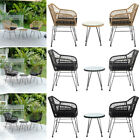 2 Rattan Chair & Coffee Table Balcony Bistro Dining Set Outdoor Garden Furniture