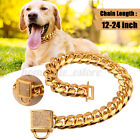Gold stainless Steel Curb Chain Pet Dog Puppy Choker Collar Rottweiler Pit Bull