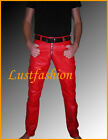 mens leather pants red leather trousers gay pants Lederhose rot Lederjeans Cuir