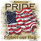 "Military ""AMERICAN PRIDE..PROTECT OUR FLAG"" 50/50 Gildan/Jerzees T SHIRT"