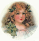 Ceramic Decals Victorian Girl Green Bows