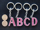 Letter Alphabet Initial Name Key Chain Magenta Crystal