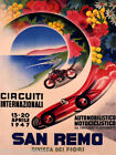 1947 ITALY ITALIAN SAN REMO CAR MOTORCYCLE RACE GRAND PRIX VINTAGE POSTER REPRO