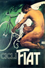 CICLI FIAT BICYCLE WINGS MAN BIKE CYCLING SPORT ITALY VINTAGE POSTER REPRO
