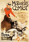 MOTORCYCLES COMIOT GIRL RIDING BIKE BICYCLE GOOSE FRENCH VINTAGE POSTER REPRO
