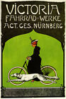 VICTORIA FASHION LADY DOG GIRL RIDING BICYCLE CYCLES BIKE VINTAGE POSTER REPRO