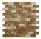 Mixed Travertine 1 X 2 Split-Faced Brick Mosaic Tile