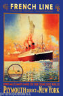 FRENCH LINE TRANSATLANTIC EXPRESS MAIL STEAMERS SHIP TRAVEL VINTAGE POSTER REPRO