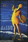 BEACH OCEAN ALASSIO SUMMER TRAVEL ITALY VINTAGE POSTER REPRO