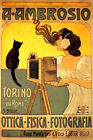 ITALY AMBROSIO TORINO BLACK CAT PHOTO PHOTOGRAPHER ROME VINTAGE POSTER REPRO