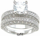 2.31Ct 3 Sided Brilliant Pave Cz Bridal Engagement 2Pc Wedding Ring Set