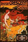 AMERICAN CRESCENT CYCLES MOON LILIES FASHION GIRL HAIR WIND VINTAGE POSTER REPRO