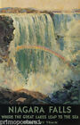 AMERICAN NIAGARA FALLS WHERE GREAT LAKES LEAP TO THE SEA VINTAGE POSTER REPRO