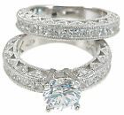 2Pc Sterling Silver 925 CZ Round Princess Cut Engagement Wedding Ring Set 5-9