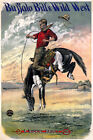 BUFFALO BILL'S WILD WEST BUCKING BRONCO HORSE COWBOY USA VINTAGE POSTER REPRO