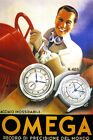 OMEGA MEN FASHION WATCH MODEL 433 488 SPORT CAR FUN DRIVING VINTAGE POSTER REPRO