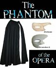 Phantom Of The Opera Cloak & Mask Halloween Fancy Dress
