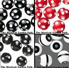 Black White OR Red White Polka Dot Or Stripe Acrylic Round Beads 16 OR 20mm