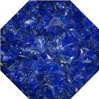 "3/4"" Cobalt Blue Fire Glass Fireglass Fire Pit Fireplace Glass Crystals Gas Logs"