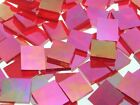 RED & WHITE WISPY IRIDESCENT handcut stained glass mosaic tiles, 8 choices, #24