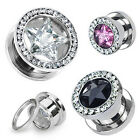 Pair Steel CZ Star Gem Rim Screw Fit Hollow Ear Plugs Tunnels Gauges 4G-00G