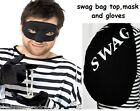Large Swag Bag Unisex Top Black Mask and Gloves Men's Fancy Dress Unique Set