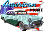1955 Green Buick Custom Hot Rod USA T-Shirt 55, Muscel Car Tee's