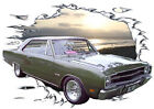 1969 Green Dodge Dart b Custom Hot Rod Sun Set T-Shirt 69, Muscle Car Tee's