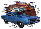 1969 Blue Dodge Super Bee Custom Hot Rod Diner T-Shirt 69, Muscle Car Tee's
