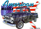 1958 Black Chevy Pickup Truck a Custom Hot Rod USA T-Shirt 58, Muscle Car Tee's