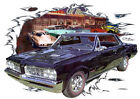 1964 Black Pontiac GTO Custom Hot Rod Diner T-Shirt 64, Muscle Car Tee's