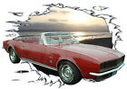 1967 Red Chevy Camaro Convertible b Hot Rod Sun Set T-Shirt 67, Muscle Car Tee's